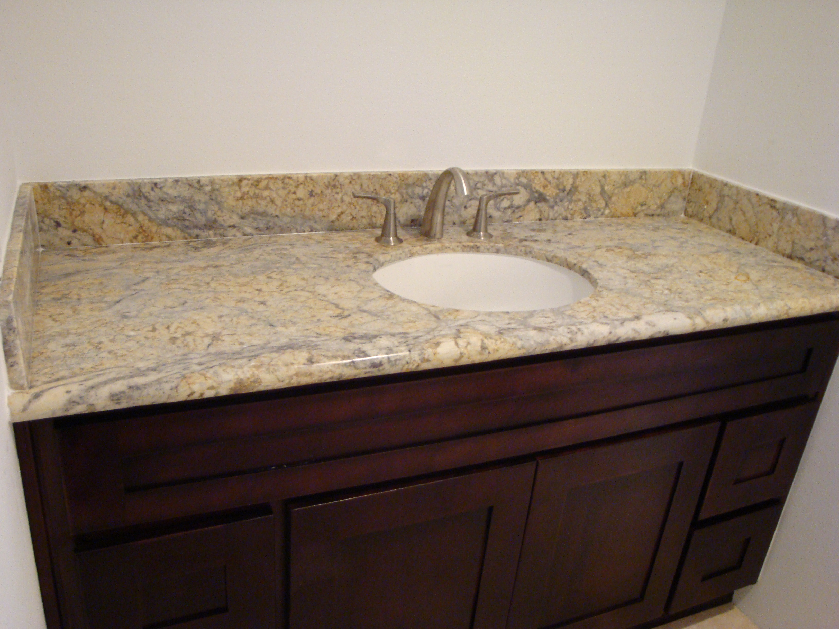 Espresso Shaker Vanity & Mary Gold Granite Counter Tops | Santa Clarita