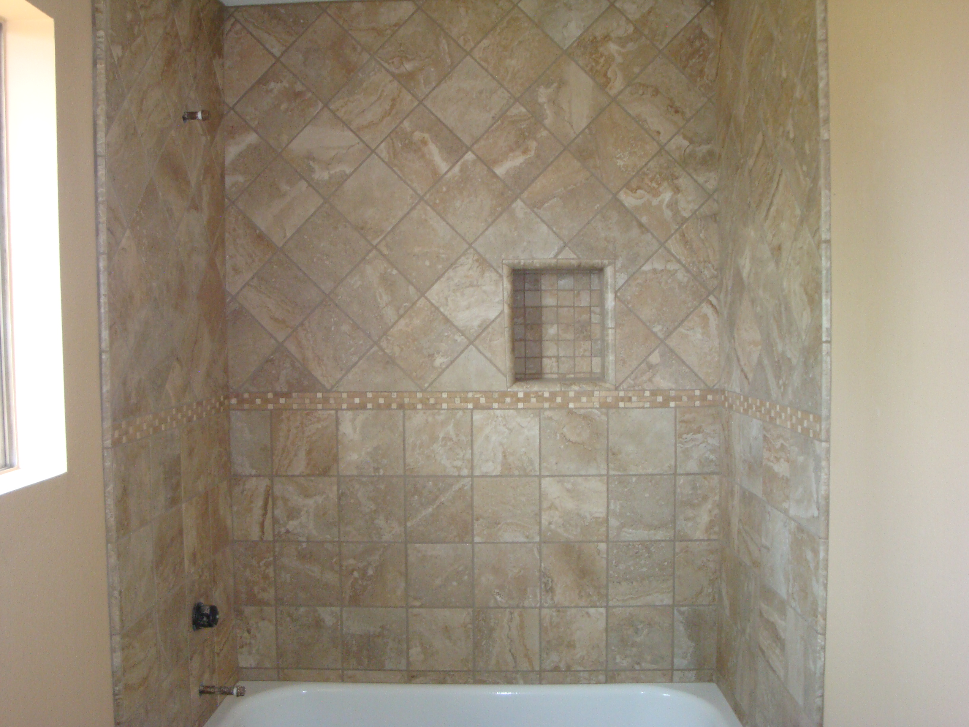 Travertine bathroom shower