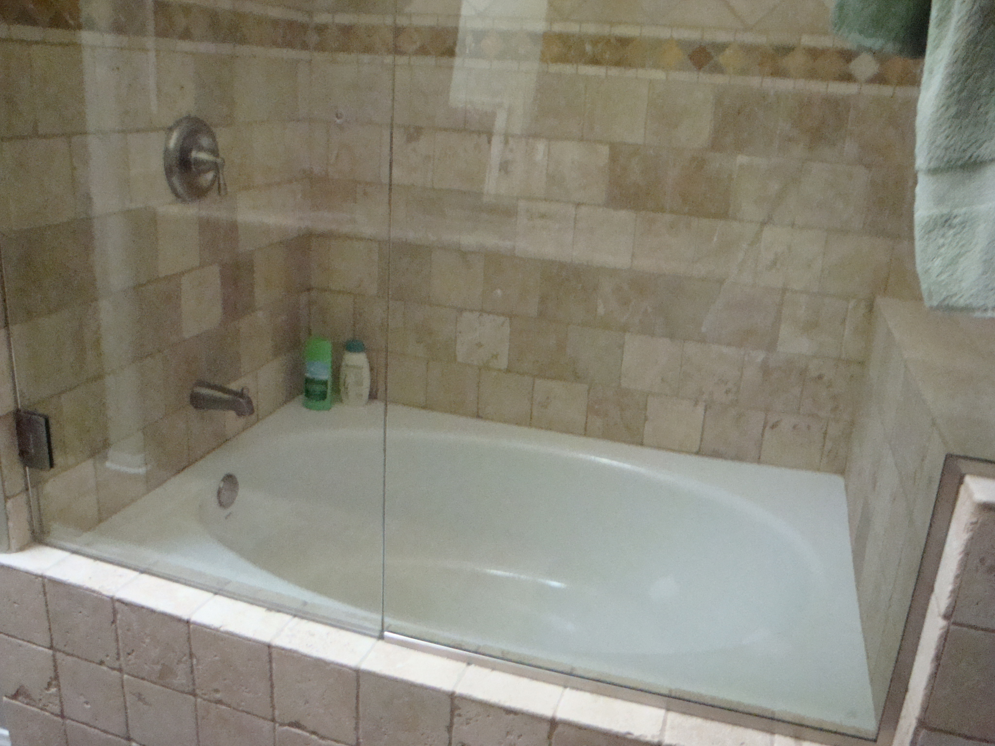 Bathroom Tumbled Travertine Shower | Santa Clarita
