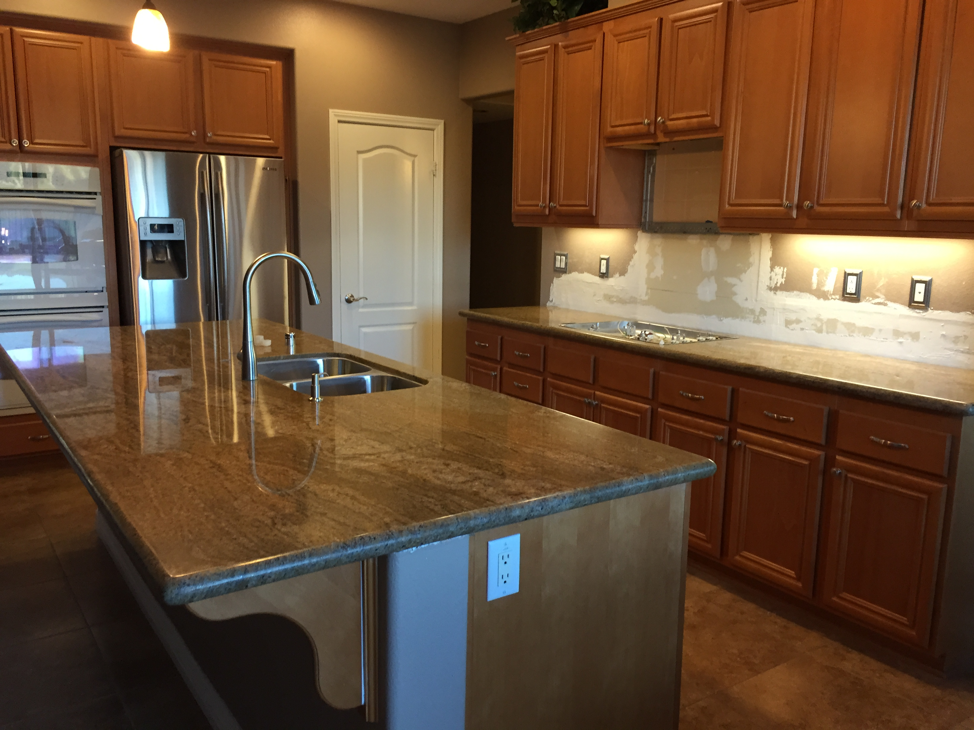Kitchen Big Island Imperial Gold Granite Counter Tops | Santa Clarita