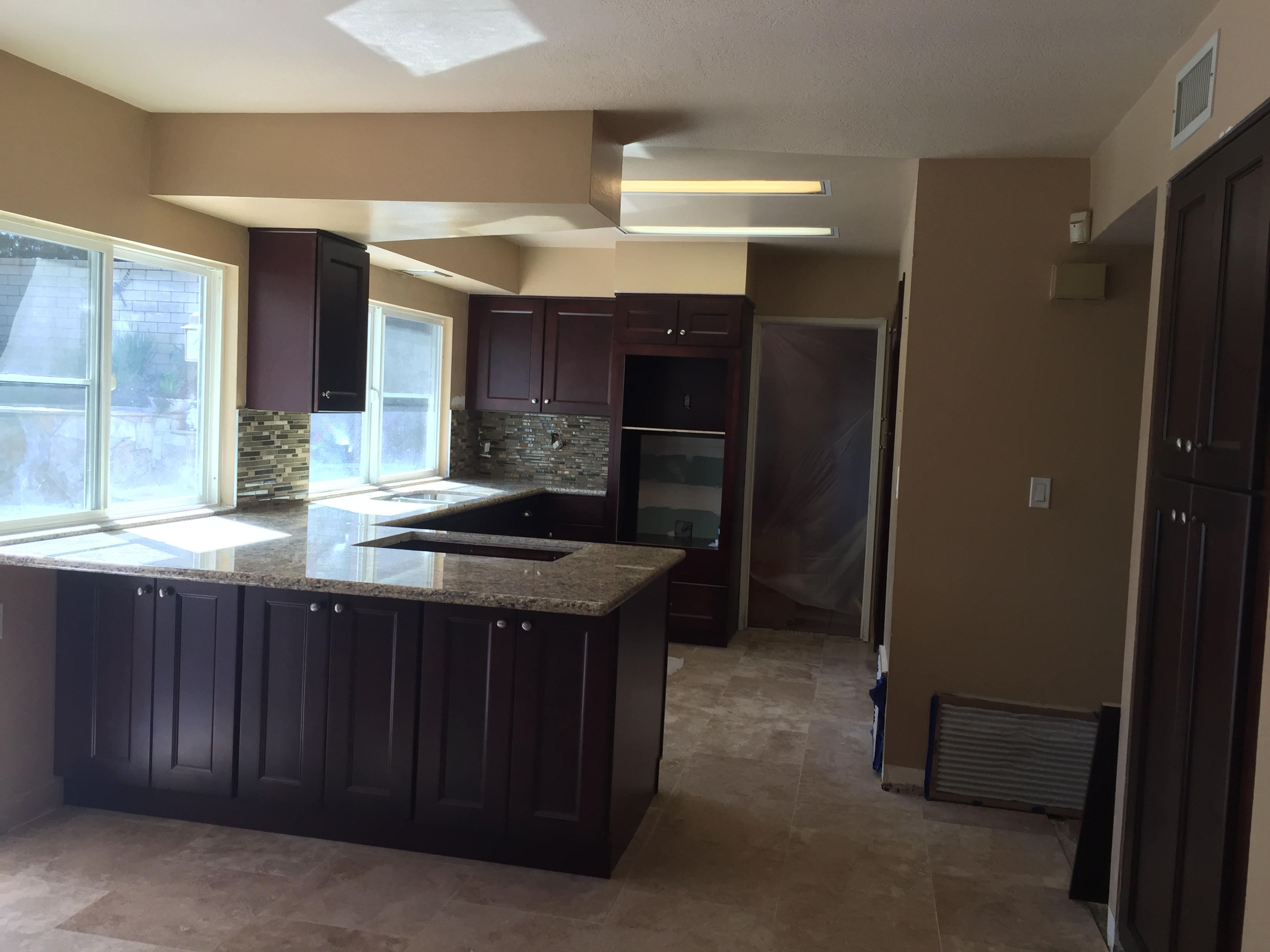 Kitchen California Espresso Cabinets & Venetian Gold Granite Counter Tops | Santa Clarita